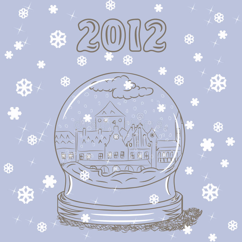 Snow globe with small European town inside vector illustration
