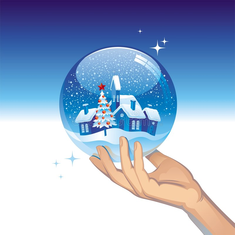 Snow globe with small town stock illustration