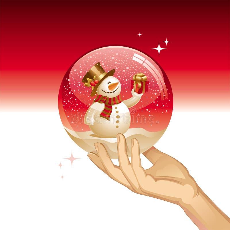 Snow globe with snowman stock illustration