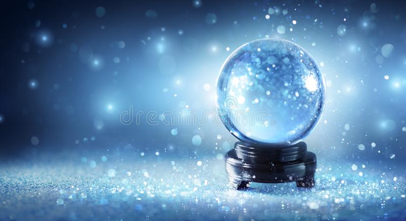Snow Globe Sparkling. In Shiny Background royalty free stock images