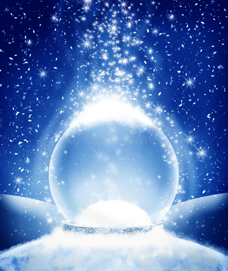Snow globe. A snow globe surrounded by stars as the snow gentle falls to the ground. Insert your image or copy into the globe stock illustration