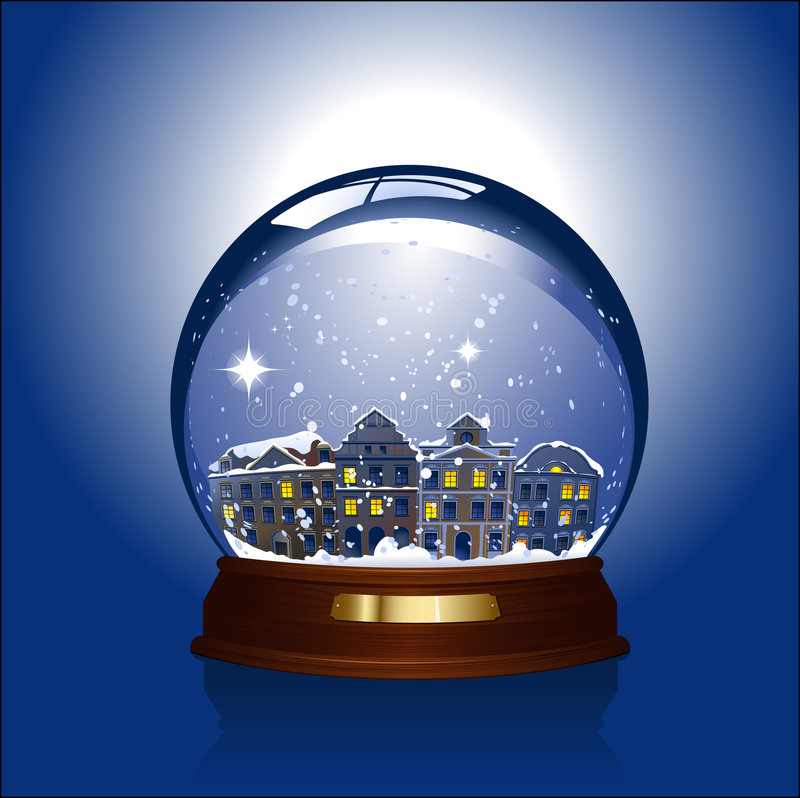 Snow globe with town inside. Realistic vector-illustration of a sonwglobe with a small town inside, brass-label for your text
