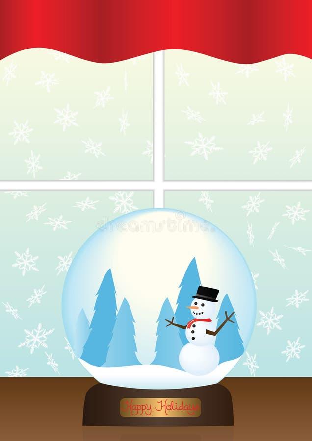 Snow Globe on Window Sill Illustration royalty free stock photography