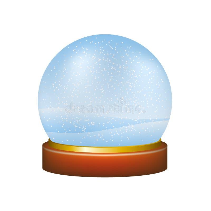 Snow globe with winter landscape vector illustration