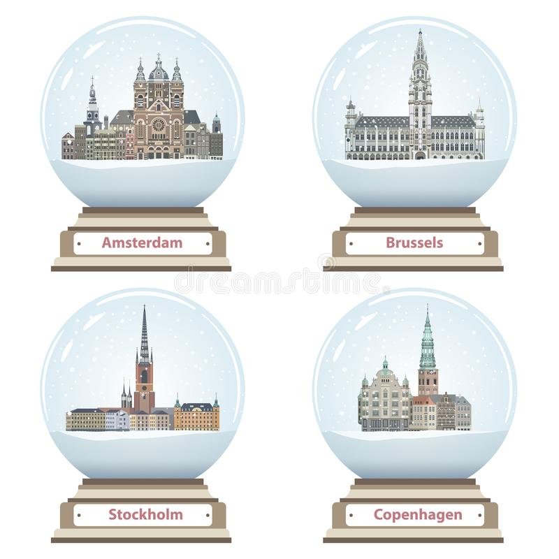 Vector snow globes with Amsterdam, Brussels, Stockholm and Copenhagen cities landmarks inside. Snow globes with Amsterdam, Brussels, Stockholm and Copenhagen stock illustration