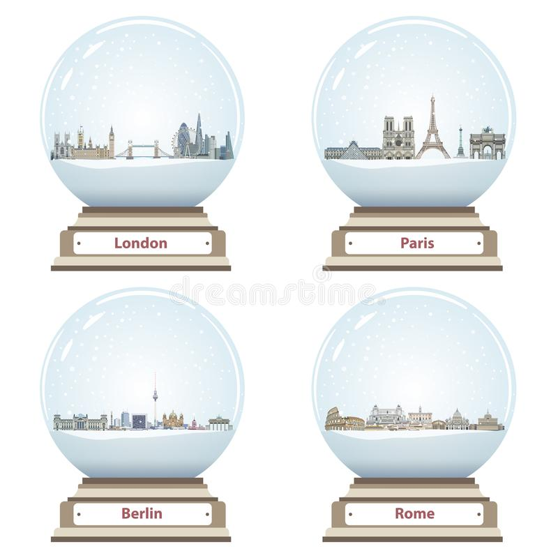 Vector snow globes with London, Paris, Berlin and Rome abstract city skylines inside. Snow globes with London, Paris, Berlin and Rome abstract city skylines vector illustration