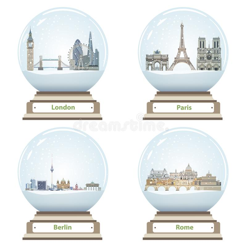 Vector snow globes with London, Paris, Berlin and Rome landmarks inside. Snow globes with London, Paris, Berlin and Rome landmarks inside stock illustration