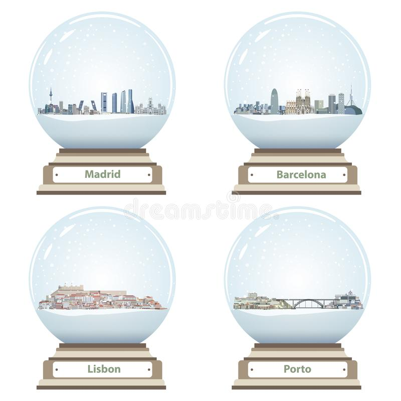 Vector snow globes with Madrid, Barcelona, Lisbon and Porto abstract city skylines inside. Snow globes with Madrid, Barcelona, Lisbon and Porto abstract city stock illustration