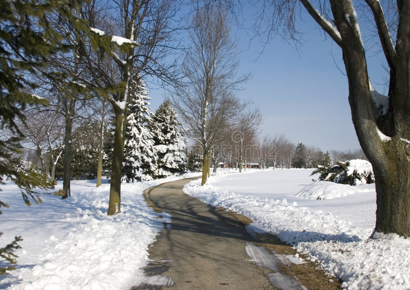 Snow On The Golf Cart Path Royalty Free Stock Image
