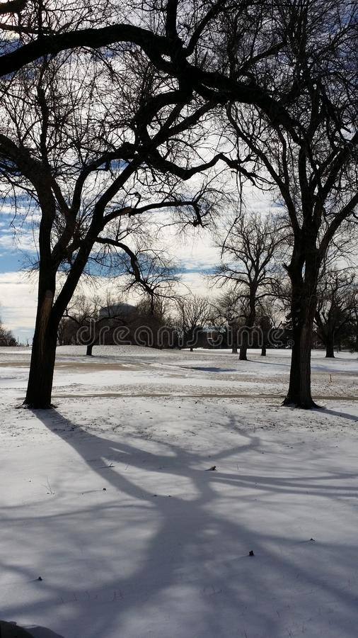 Snow in A Golf Course stock images