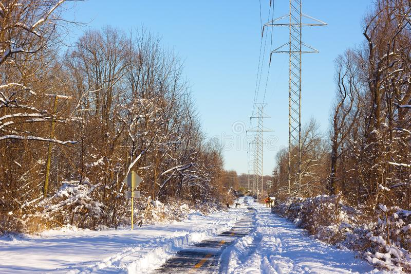 Paved Hike and Bike Trail in winter. stock photo