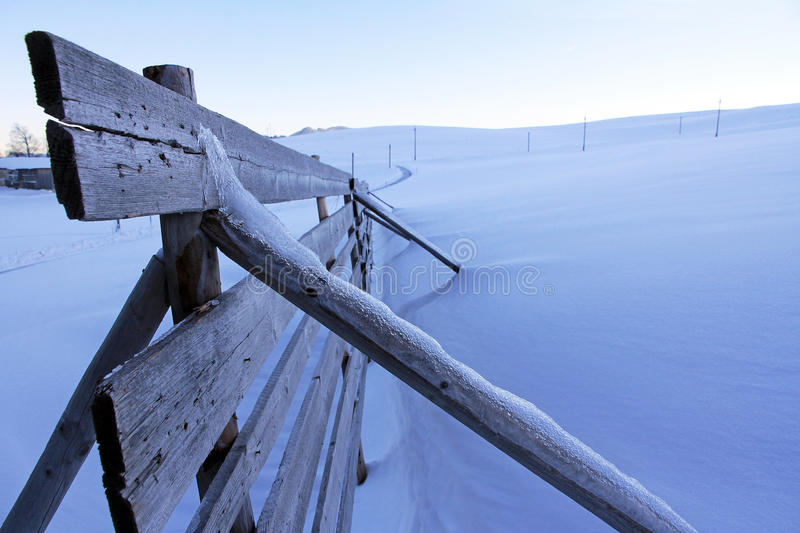 Snow guard fence stock photography