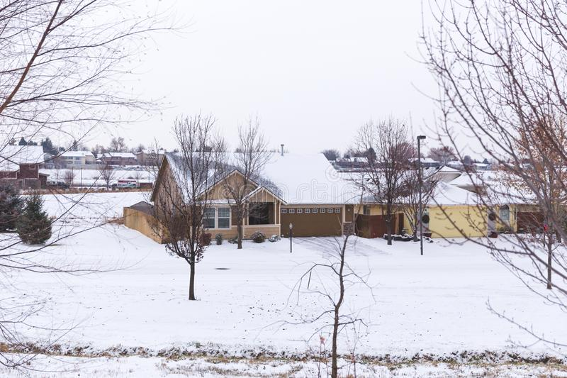 Snow on Homes in Boise, Idaho. House covereed in snow iin suburban neighborhood in suburbs of Boise, Idaho, USA royalty free stock photography