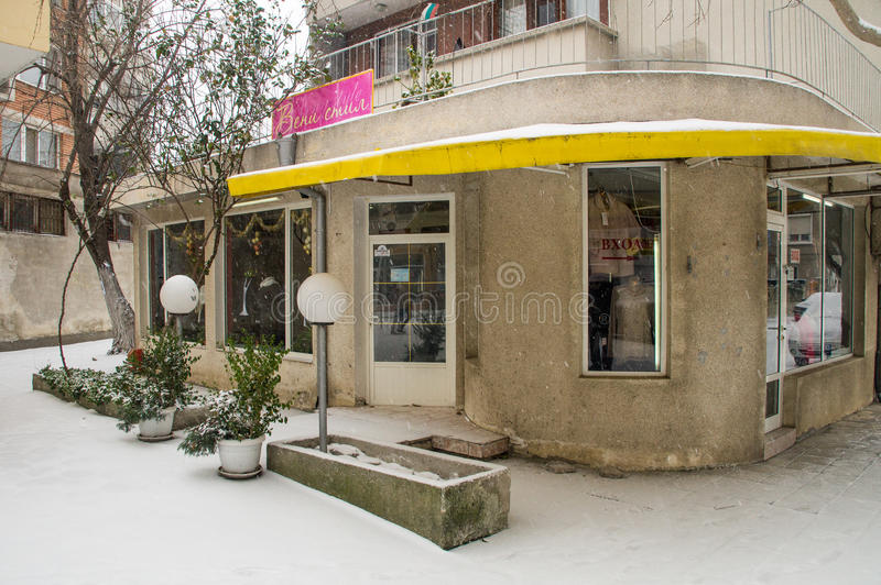 Snow and house plants in Pomorie, Bulgaria royalty free stock images