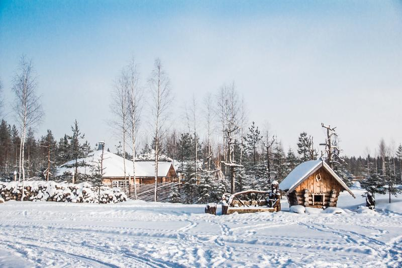 Village in the snow. Snow and ice of beautiful Karelia. Somewhere in Russia. Forest in the snow. Beautiful time of year. Purity of nature. Village in the snow stock images