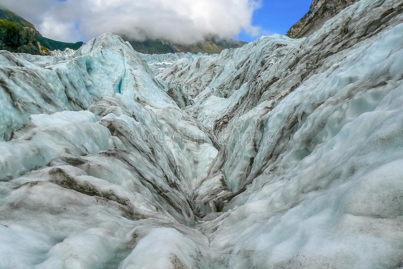 Beautiful snow landscape on Fox Glacier, South Island, New Zealand. Snow and ice landscape on Fox Glacier, South Island, New Zealand stock photography