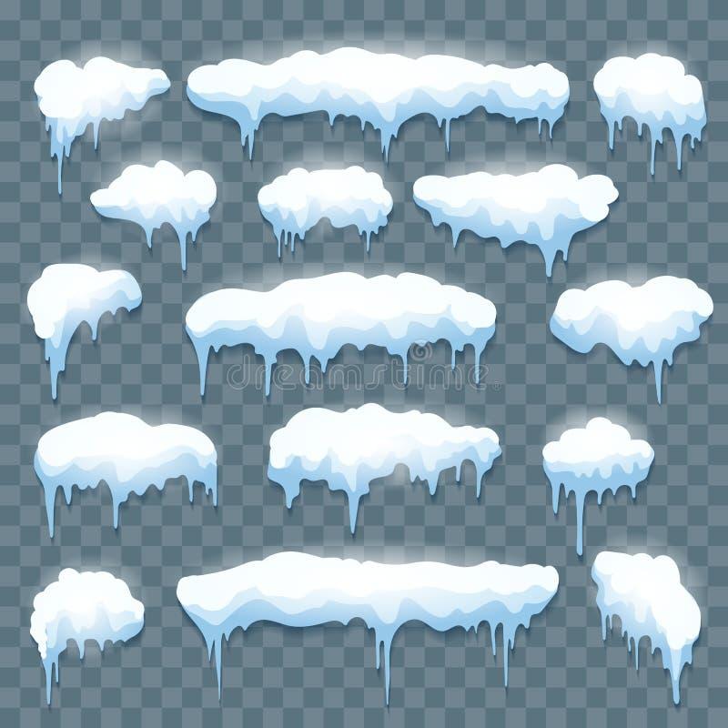 Snow icicles set on transparent vector illustration
