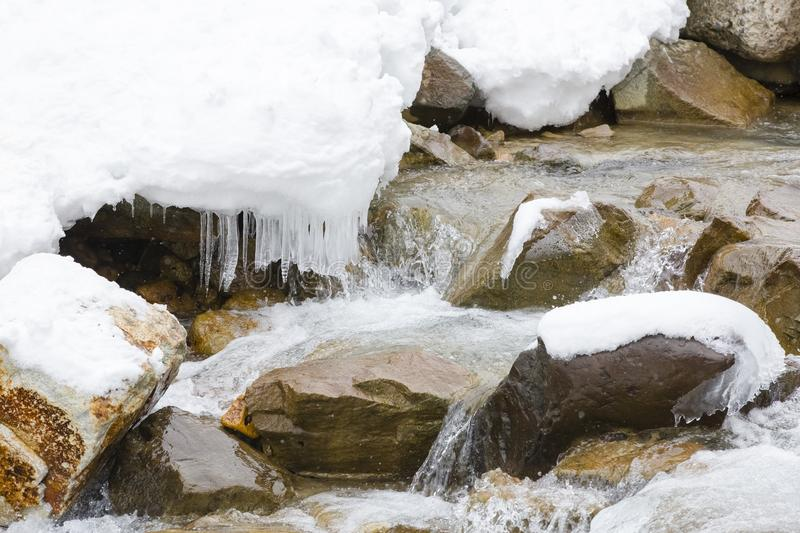 Snow,Icicles and Water Rushing over Rocks royalty free stock image