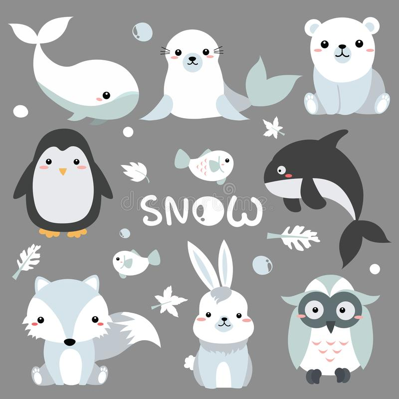2018-07-09 Snow1. Illustration of animal cartoon animation about North Pole., Mammal in the forest. Animals of pole stock illustration