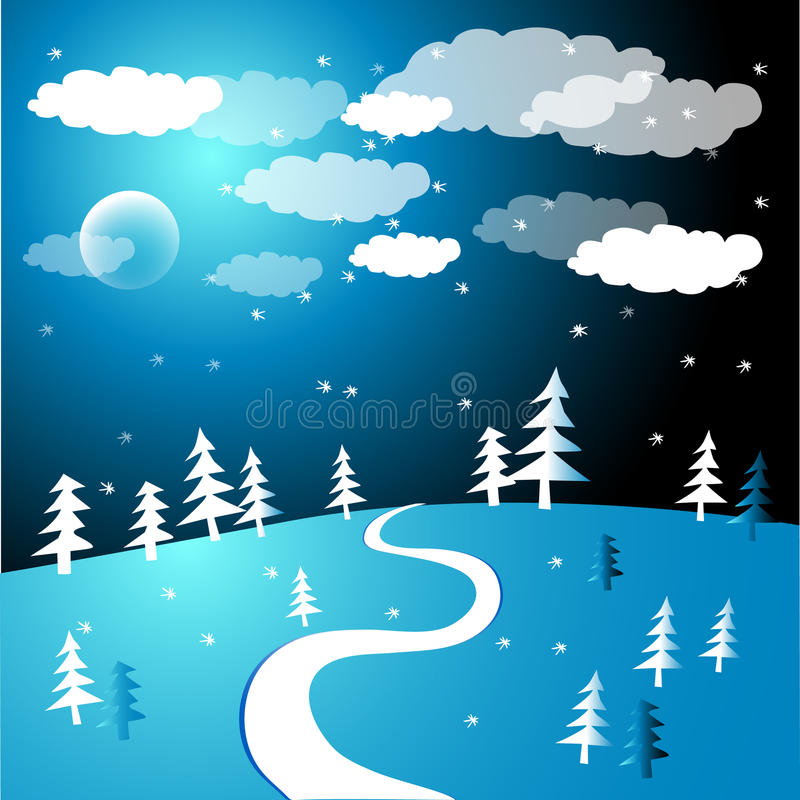 Free Snow In The Woods Illustration Royalty Free Stock Photos - 16630028