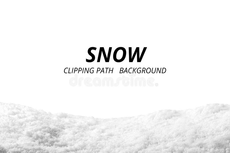 Snow isolated on white background. Snowdrift backdrop in winter season. royalty free stock photography