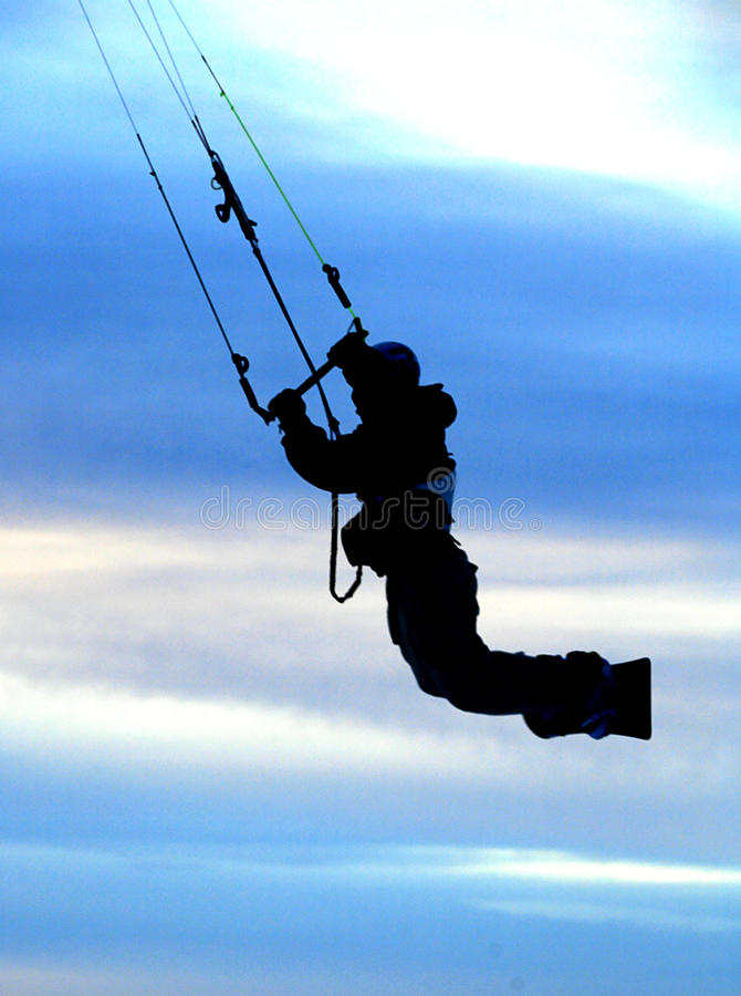 Download Snow kiting jump. stock image. Image of sunset, airborne - 17371561