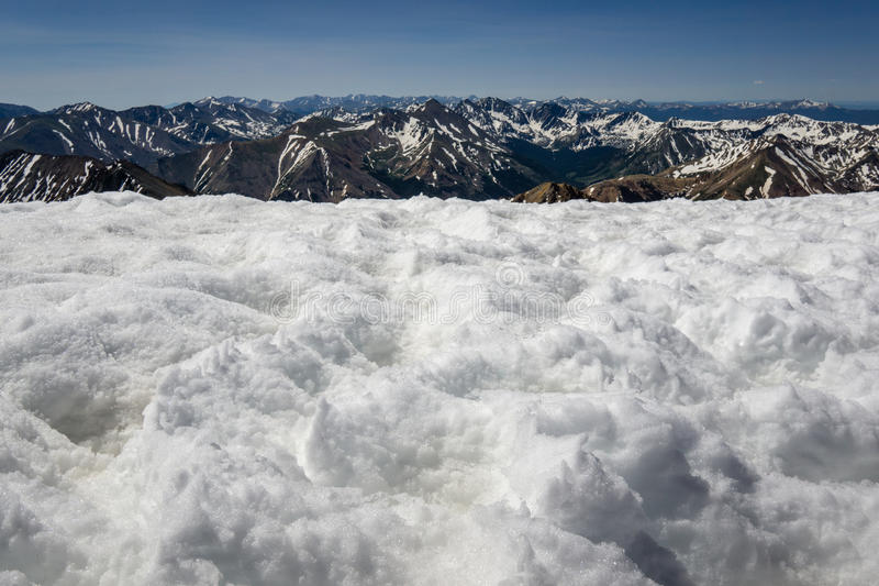 Snow on La Plata Peak& x27;s Summit. Springtime in the Rocky Mountains. From the summit of La Plata Peak, near Independence Pass, Colorado royalty free stock images