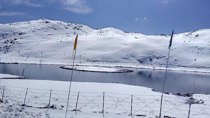 Snow lake in Himachal Pradesh stock images