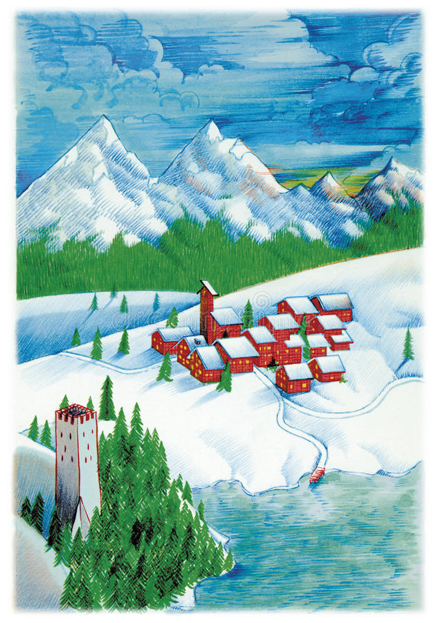 Download Snow land and tower stock illustration. Illustration of glacier - 14104618