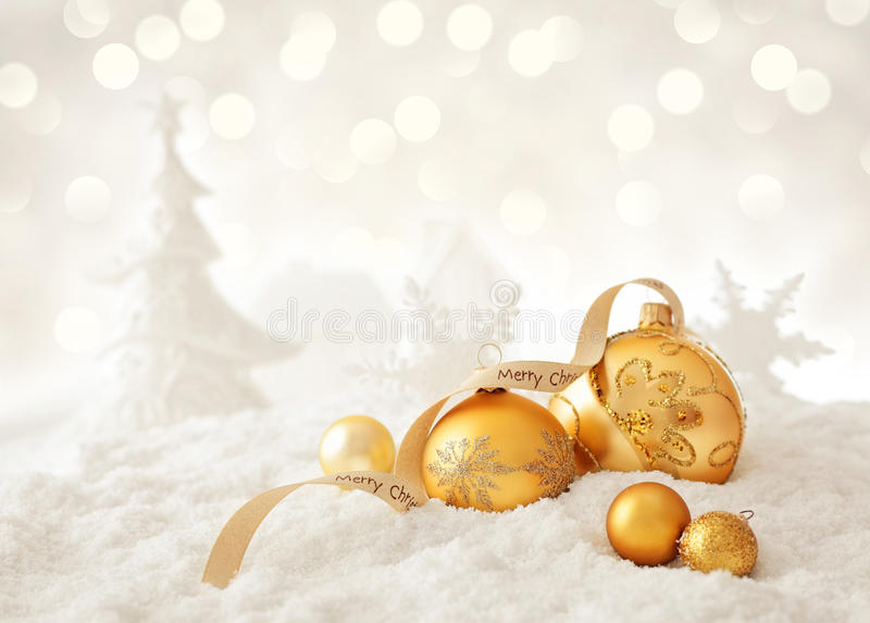 Snow landscape with christmas ornaments stock image