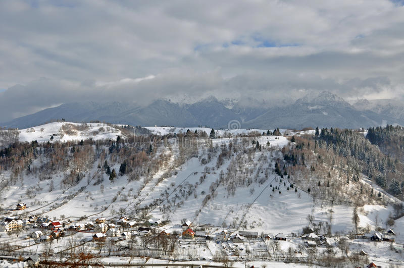 Snow landscape village royalty free stock images