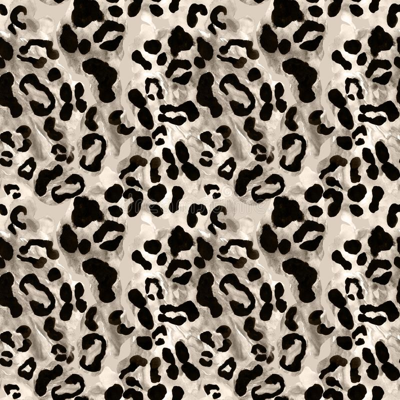 Snow leopard or jaguar coat seamless pattern with black rossetes on gray brown background. Exotic wild animal skin print stock photo