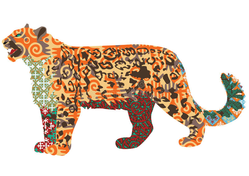 Snow Leopard With Kyrgyz Patterns Stock Vector Illustration Of