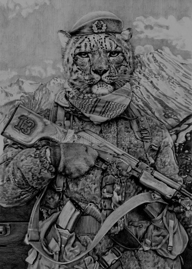 Snow leopard in uniform. My Drawing pencils. royalty free stock photography