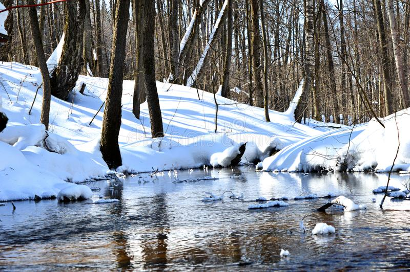 Snow, light, shadow, sun, landscape, river, water, drifts, trees, forest, Park, winter, thaw, blue, white. Forest landscape on a Sunny winter day by the river royalty free stock images