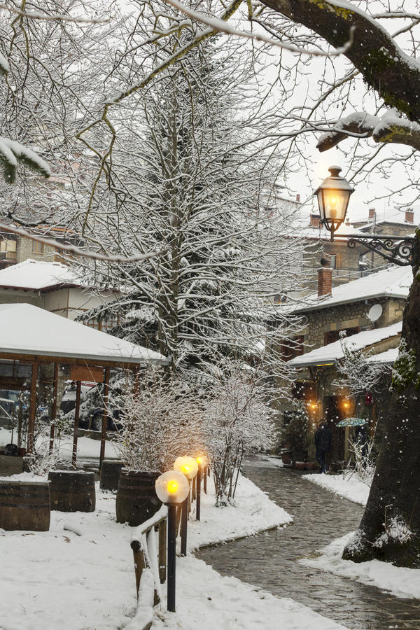 Free Snow Lights, Road In Village Metsovo, Winter Royalty Free Stock Photos - 65234778