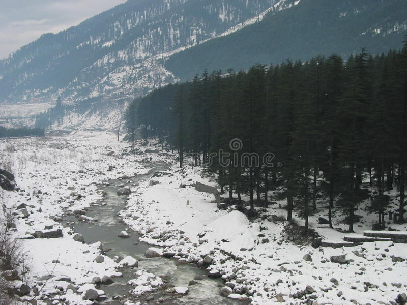 Snow lined Beas River near Manali India. Heavy Snowfall and Almost frozen Beas River near mountain town of Manali in North Indian Himalayan Ranges. Area is full royalty free stock image