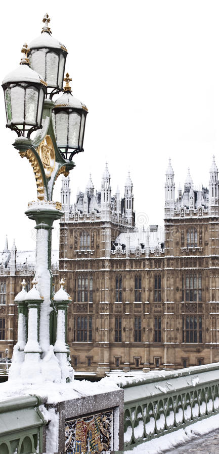 Snow in London stock photo