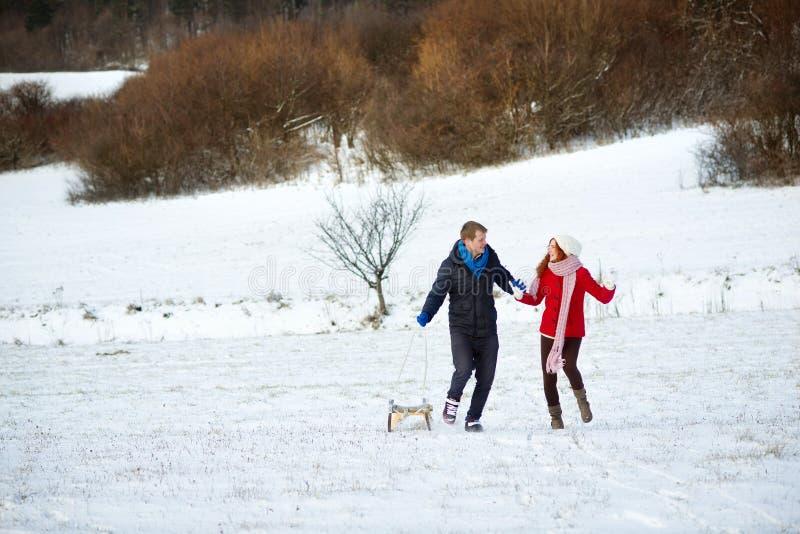 Download Snow love stock photo. Image of sledge, snow, romance - 28653338