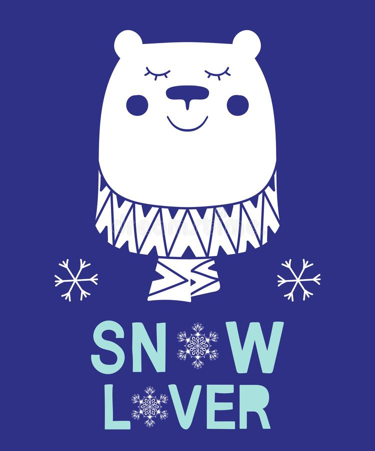 Snow lover slogan bear animal vector illustration for fashion christmas kids print royalty free illustration