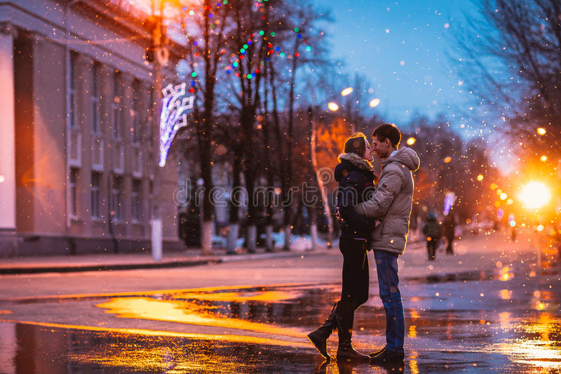 Snow lovers kiss city royalty free stock photography