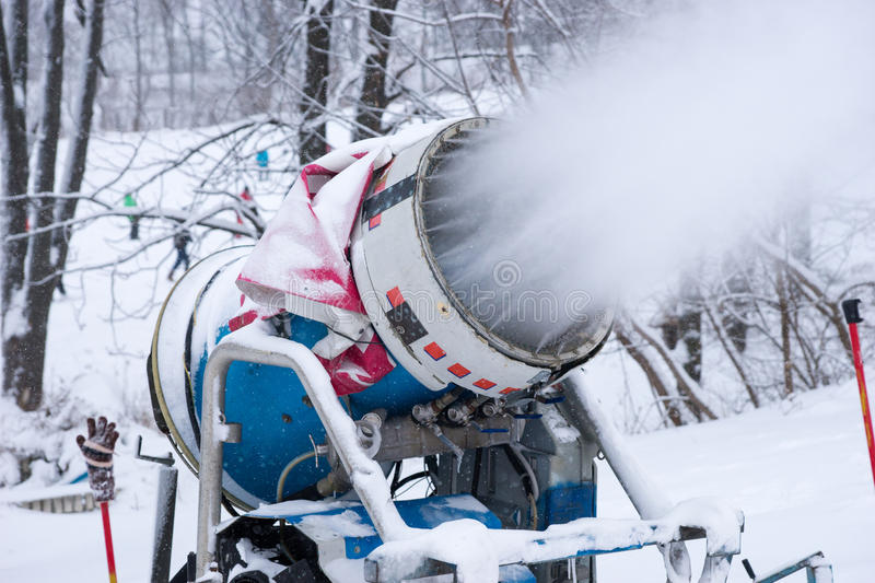 Snow machine blowing artificial stock image
