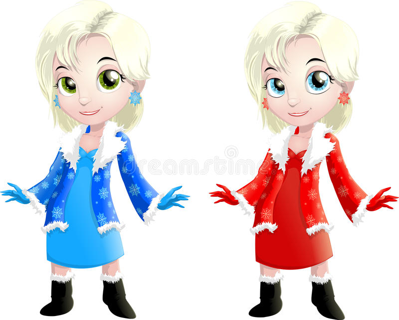 Snow Maiden. The beautiful Snow Maiden in two options on a white background vector illustration