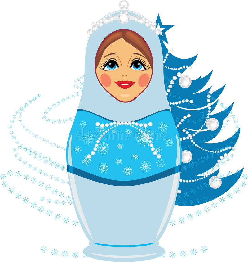 Download Snow Maiden And Christmas Fir Tree Stock Image - Image: 27643881