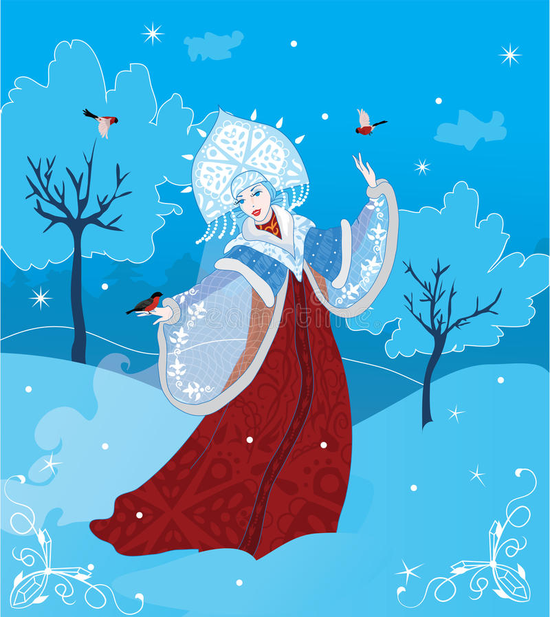 Download Snow Maiden russian style stock vector. Image of drawing - 26602882