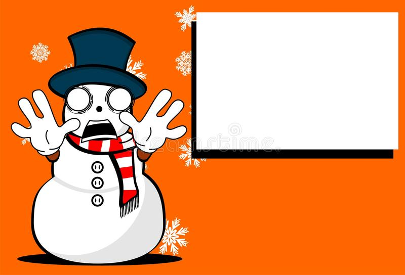 Snow man cartoon xmas background2 vector illustration