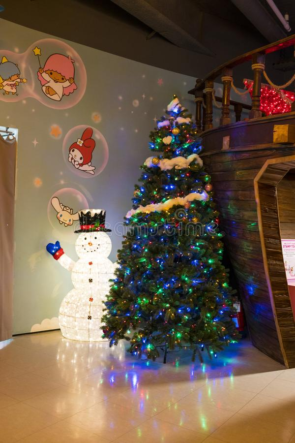 Snow man and christmas tree in Hello Kitty Island. Jeju, Korea, 9th, March, 2019. Snow man and christmas tree in Hello Kitty Island. It`s a colorful and rich royalty free stock image