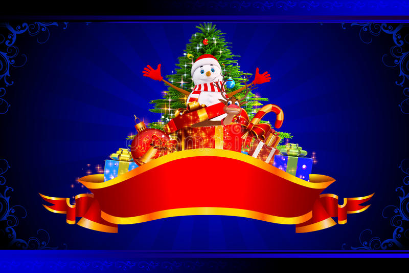 Download Snow Man Enjoying With Tree And Many Gifts Stock Illustration - Image: 26831111