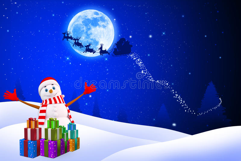 Snow Man Is Jumping Happily On Iceland Royalty Free Stock Images