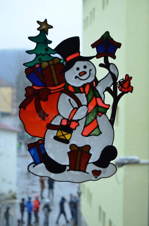 Snow man stock photo